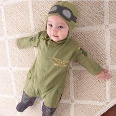 Online Cheap 2016 Baby Clothes Pilot Costume Baby Romper Little Boys Air Force Captain Green Long Sleeve Romper Jumpsuit With Hat Infant Toddler Clothing By Hhtoner | Dhgate.Com