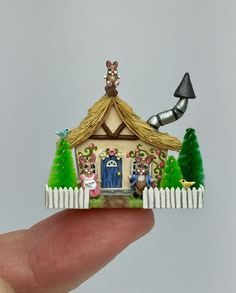 Miniature Dollhouse Shadow Box Art White Persian Cat Maiden Handmade