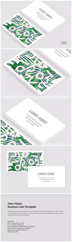 Palm Pastel Business Card Template by The Design Label on @creativemarket