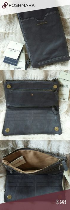 Leather suede wallet 5 compartments with credit card slots inside and one slot outside Lucky Brand Bags Clutches & Wristlets
