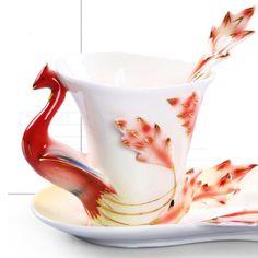 Fine Art Porcelain Phoenix Mug Enamel Mugs Coffee Tea Cup Set With Saucer Spoon