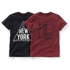 T-shirts de mangas curtas, estampadas (lote de 2) Pequenos Preços   La Redoute