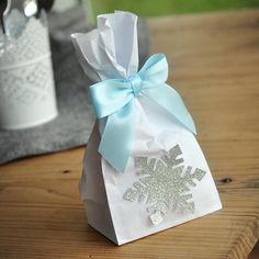 Frozen Party Favor Bags (Pack of 10). Made in 1-3 Business Days. Silver Frozen Party Supplies. Mini Party Favor Bags with Snowflake and Bows
