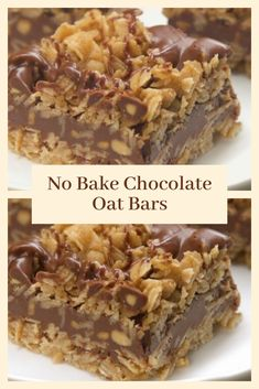 Do you want to cook No Bake Chocolate Oat Bars? This is the best No Bake Chocolate Oat Bars recipe that I have, please try it at home. Chocolate Oat Bars Recipe, Chocolate Chip Bars, Chocolate Oatmeal, Chocolate Drizzle, No Bake Chocolate Desserts, Baking Chocolate, Köstliche Desserts, Delicious Desserts, Dessert Recipes