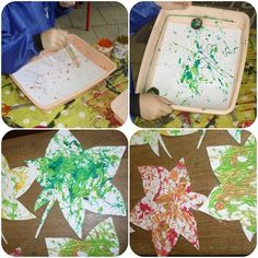 Techniques - lesptitsbricoleurss jimdo page! Preschool Painting, Fall Preschool Activities, Preschool Projects, Thanksgiving Crafts, Fall Crafts, Diy And Crafts, Autumn Trees, Autumn Leaves, Marble Painting