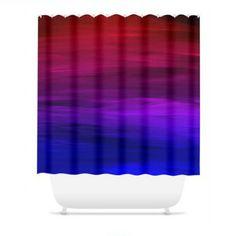 ETERNAL SUNSET Fine Art Blue Red Colorful Ombre Shower Curtain by EbiEmporium, #showercurtain #shower #bathroom #homedecor #ombre #colorful #moderndecor #ebiemporium
