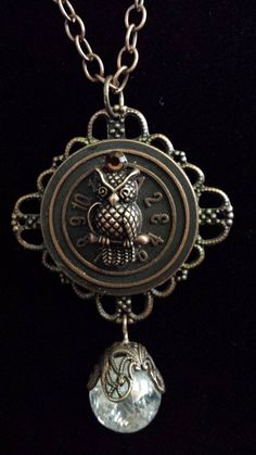 Steampunk Owl Clock and Crystal Ball Necklace by KreationsByKimH, $18.00
