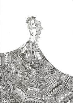 Hand Drawn Zentangle Doodle Drawings - Black and white pineapple doodle zentangle art - Girl Drawing Sketches, Doodle Art Drawing, Art Drawings Sketches Simple, Zentangle Drawings, Pencil Art Drawings, Drawing Women, Drawing Drawing, Doodles Zentangles, Detailed Drawings