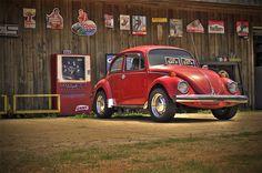 VW Beetle, cranberry red, cream interior, walnut dash = DREAM CAR