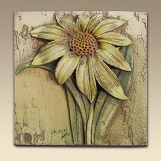 Ceramic tile with flower. Simple Canvas Paintings, Diy Canvas Art, Ceramic Flowers, Clay Flowers, Flower Mural, Flower Art, Sculpture Painting, Wall Sculptures, Clay Wall Art