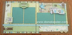 Two Page Scrapbook layout page kit Skylark shabby chic girl #ctmh #scraptabulousdesigns #simplyscraptabulous #scrapbooking