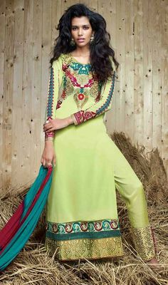 Look presentable and pretty wearing this mint green color georgette embroidered pant style suit. You will see some intriguing patterns completed with resham and lace work. Bollywood Dress, Pakistani Dresses, Bollywood Fashion, Anarkali, Dresses For Teens, Dresses Online, Buy Salwar Kameez Online, Latest Salwar Suit Designs, Wedding Salwar Kameez