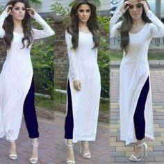 Indian Pakistani Designer Suit Bollywood Dress Green Whit A Indian Fashion Dresses, Dress Indian Style, Pakistani Dresses, Pakistani Suits, Pakistani Long Kurtis, Stylish Dress Designs, Designs For Dresses, Stylish Dresses, Stylish Kurtis Design
