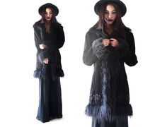 vintage 90s Leather suede Embroidered SHAGGY fuzzy by hella90s, $95.00