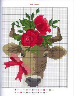 Deer with Roses Cross Stitch Cow, Cross Stitch For Kids, Cross Stitch Bookmarks, Cross Stitch Animals, Counted Cross Stitch Patterns, Cross Stitch Charts, Cross Stitch Embroidery, Spieth Und Wensky, Cross Stitch Finishing