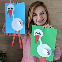 Stork 😍, one of my older crafts 😊. Easy Arts And Crafts, Paper Crafts For Kids, Crafts To Do, Preschool Activities, Fun Activities For Kids, Infant Activities, Storch Baby, Classroom Wall Decor, Art Education Projects