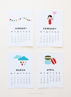 "A cute, FREE, printable calendar! ""Year of Colour"" Printable Calendar 2014 Free Printable Calendar Templates, Free Printables, Agenda Filofax, Calendrier Diy, Calendar Design, Diy Calendar, Desk Calendars, Idee Diy, Journal Cards"