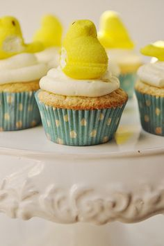 Lemon Cured Cupcakes topped with Peeps! Easter party or spring decor