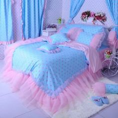New Arrival Beautiful Pink Dots Print Lace Borders Bed Skirt 4 Piece Bedding Sets - Bedding Set - Ideas of Bedding Set - New Arrival Beautiful Pink Dots Print Lace Borders Bed Skirt 4 Piece Bedding Sets Girls Bedding Sets, Pink Bedding, Luxury Bedding Sets, Comforter Sets, Ruffle Bedding, King Comforter, Pink Bedrooms, Girls Bedroom, Bedroom Decor
