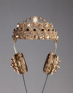Dolce & Gabbana Napa Leather Rhinestone Headphones with Crown, $8,895; dolcegabbana.com   - ELLE.com