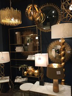 Trends for 2016 seen at High Point Market spring 2015. Gold! (High Point Market showroom unidentified)