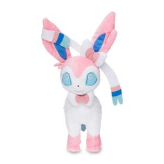 Official Sylveon Poké Plush. Stands 9-1/4 inches tall, with entwining ribbons and rich plush details. Pokémon Center Original design.