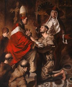 """rectumetjustum: """"Giovanni Gasparro - Saint Francis of Assisi received by Pope Innocent III, oil on canvas, 199 x 165 cm, Trani, church of st. Francis of Assisi. Catholic Religion, Catholic Art, Catholic Saints, Francis Of Assisi, St Francis, Religious Paintings, Religious Art, Basilica Of The Annunciation, Christian Art"""