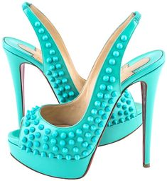 Christian Louboutin Lady Peep Sling Spikes Patent Aquamarine (Turquoise) Blue Womens Size: US / EU Measurements are Approximate. (Please Take Note of the Size on the Tags as Shown in Pictures and/or Measurements Stated on the Description. Louboutin Shoes Women, Black Louboutin Heels, Christian Louboutin Shoes, Cute Heels, Sexy Heels, High Heels, Pink Nike Shoes, Pink Nikes, Slingbacks