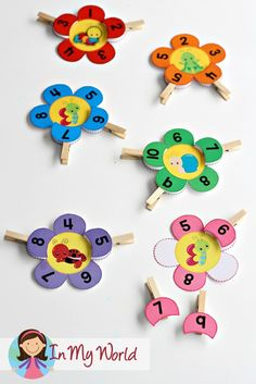 Spring Preschool Centers Clip the numbers flower petal activity