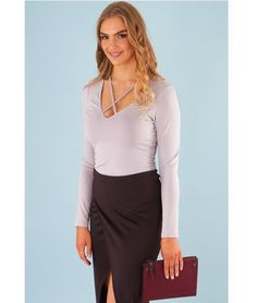 Brigitte Silky Long Sleeve V Neck strap • crop • chic | Cross Strap Front Top – Grey | $ 34.97 |  f r e e   p o s t