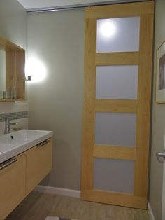 Love the sliding door that separates the toilet/tub from the vanity area (full details on entire reno)