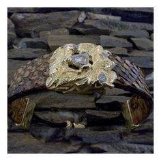 Tribal leather bracelet made from python skin with an gold charm with a rough diamond set into it Africa Fashion, Tribal Fashion, African Accessories, Rough Diamond, Bracelet Making, Leather And Lace, Fashion Beauty, Lion Sculpture, Handmade Jewelry