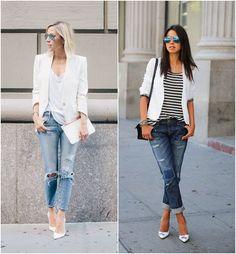 Para Inspirar - Blazer Branco e Jeans Rasgado!