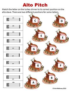 MUSIC THANKSGIVING WORKSHEETS 20 different worksheets: note and rest names, treble, alto and bass pitch and music signs and symbols! $