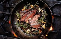 This garlic rosemary steak could be cooked in a carbon steel pan on the stovetop or on the grill!