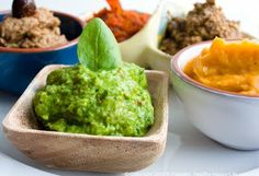 5 Healthy Homemade Dips ~ Pure Olive, Roasted Red Pepper Salsa, Green Dream Dip, Maple Sweet Potato, and Savory Sunny Mushroom Dip