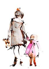 "Peinture illustration aquarelle pour décoration ""petite fille"" / watercolor painting ""little girl"""