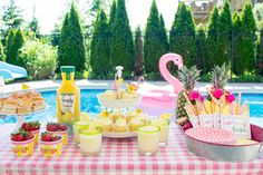 Ideas for a summer backyard flamingo pool party, with free flamingo party printables and recipes for virgin pina coladas.