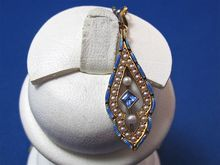 Beautiful Sapphire & Cultured Pearl 14K Gold Edwardian Necklace, Shop Rubylane.com