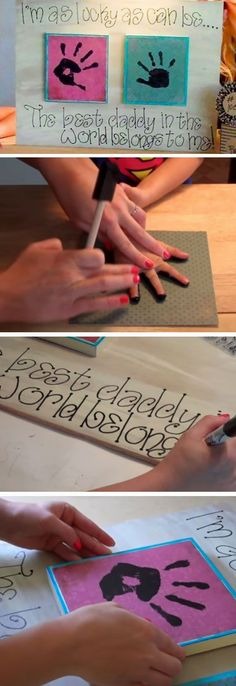 Want a fun way to amuse the kids and have a present at the end of it ? Then try these cute fathers day crafts for kids. Some will require a lot of adult help Diy Father's Day Gifts Easy, Diy Father's Day Crafts, Father's Day Diy, Baby Crafts, Toddler Crafts, Holiday Crafts, Holiday Decorations, Kids Crafts, Fathers Day Art