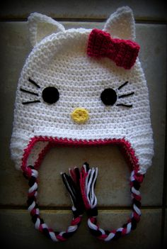 Hello Kitty Hat Girl Crochet Hats Baby Girl by LoopsyDaisyDesign, $20.00