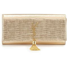 Saint Laurent Monogram Lizard-Stamped Clutch Bag ($1,860) ❤ liked on Polyvore featuring bags, handbags, clutches, gold, real leather purses, leather flap handbag, genuine leather handbags, leather purse and brown purse