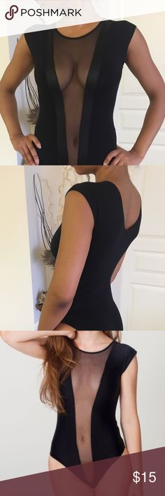 American Apparel black bodysuit Mesh and satin panel, stretchy cotton. Full bottom. Will fit XS-M. Tops