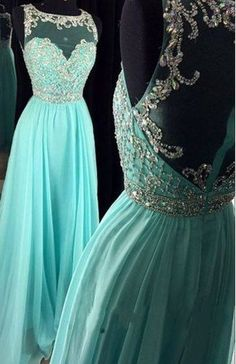 Long Mint Chiffon High Low Prom Dresses, Evening Dresses, Prom Gowns,Evening…