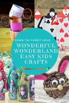 The Alice in Wonderland book and movie are not easily forgotten. Inspire your child's creativity with one of these Down the Rabbit Hole: 23 Wonderful Alice in Wonderland Crafts. Camping Crafts For Kids, Summer Crafts For Kids, Summer Activities For Kids, Craft Activities, Art For Kids, Kids Crafts, Reading Activities, Alice In Wonderland Crafts, Upcycled Crafts