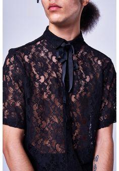 db17c3226f6 BLACK LACE SHORT SLEEVE SHIRT Black Lace Shorts