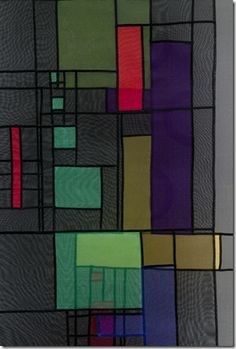 "detail of 'Homage to Klee' by Leonie Castelino is a Contemporary Pieced Bojagi in layered silk organza with the distinctive bojagi elements of architecture, seams, transparency, color, composition and design.    It measures 24"" x 63""."