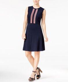 Tommy Hilfiger Elise Scallop-Print Fit & Flare Dress | macys.com