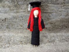 Graduate Toothpick Doll $7.50     friendship, worry, wood, thread, miniature, toothpick, doll, dollhouse, school, gift