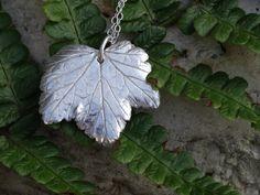 Real Leaf pendant, handmade, sterling silver £22.95